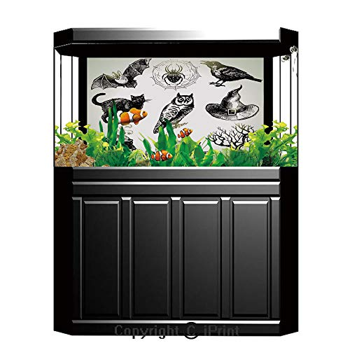 Terrarium Fish Tank Background,Vintage Halloween,Halloween Related Pictures Drawn by Hand Raven Owl Spider Black Cat Decorative,Black White,Photography Backdrop for Pictures Party -