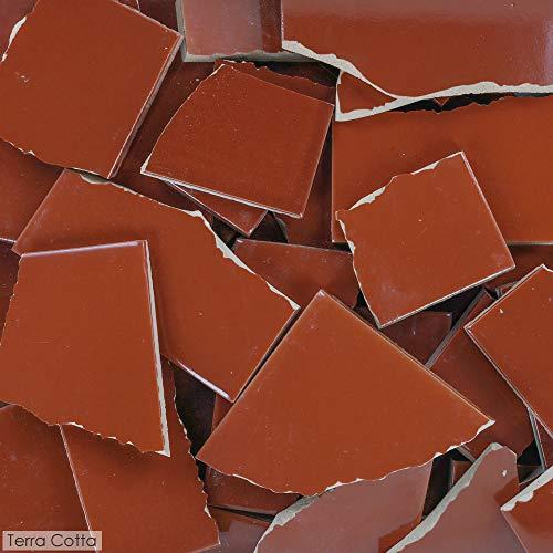 5 Pounds of Broken Talavera Mexican Ceramic Tile in Terra Cotta Solid Color