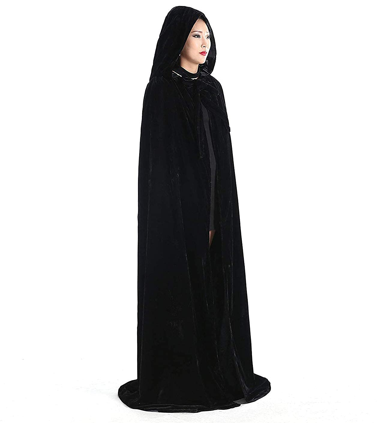 Engerla Bridal Halloween Costumes Hooded Cloak Velvet Cloak Black Cape Unisex Cosplay Capes