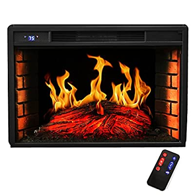 "XtremepowerUS 28"" Black Electric Insert 3D Firebox Fireplace Heater W/Remote"