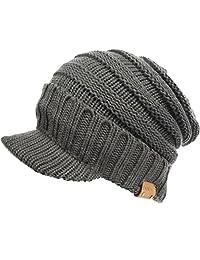FORBUSITE Men Slouchy Winter Knit Visor Beanie Cap B319