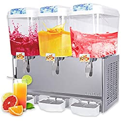 SUNCOO Commercial Juice Beverage Dispenser-Cold Ice Juice Temperature Control 380W,Per Tank Large Capacity 4.75 Gallon, 3 Tank with Spigot