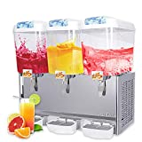 SUNCOO Commercial Juice Beverage Dispenser-Cold Ice Juice Temperature Control 380W,Per Tank Large Capacity 4.75 Gallon, 3 Tank with Spigot