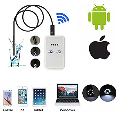 Skycoolwin Wireless Endoscope HD 9mm Waterproof WIFI Snake Camera Video Inspection Camera Borescope for Android/iOS iphone iPad Laptop Tablet Desktop Computer 1M Cable