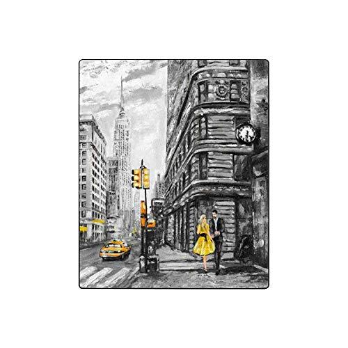 (InterestPrint Vintage Street View of NYC New York City Fleece Luxury Blanket Throw Lightweight Cozy Plush Throw Blanket 50