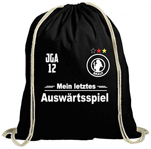 ShirtStreet Junggesellinnenabschied JGA Fußball WM 12. Mann natur Turnbeutel Rucksack Gymsac Braut - Mein letztes Auswärtsspiel Schwarz Natur qjE5qA0Un