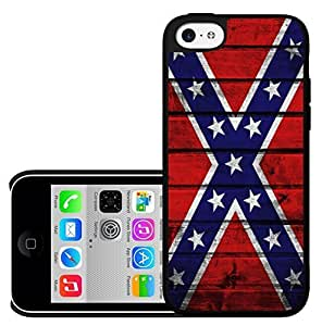 MMZ DIY PHONE CASEConfederate Battle Flag USA Red White and Blue with Cross of St Andrew Wood Grunge Hard Snap on Cell Phone Case Cover ipod touch 5