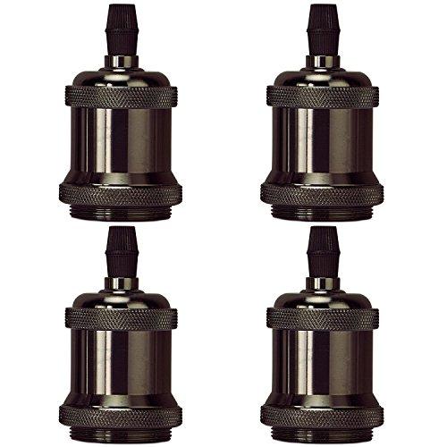 MKLOT 4 Pack/Lot E26/E27 Socket Screw Bulbs Edison Retro Pendant Lamp Holder Lamp Socket Ceramics Without Switch E27 (Chrome Triple Light Table Lamp)