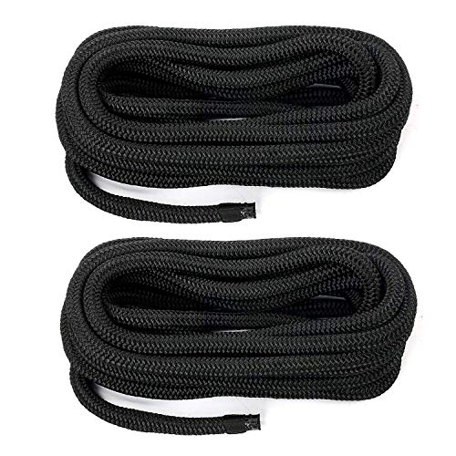 Amarine Made 1/2 Inch 20 FT Double Braid Nylon Dockline,Mooring Rope Double Braided Dock Line (2-Pack,Black) ()