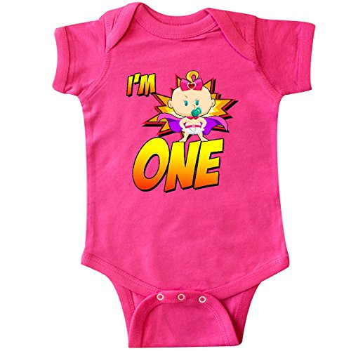 inktastic I'm 1 Superhero Girl Infant Creeper 12 Months Hot Pink -
