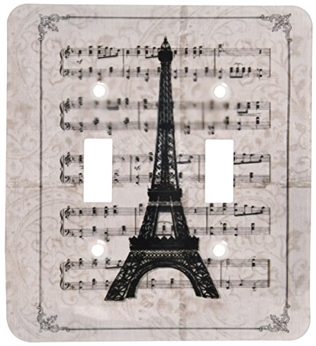 (3dRose lsp_99335_2 Vintage Song Sheet With Eiffel Tower French Art- Paris Double Toggle Switch Multicolored)