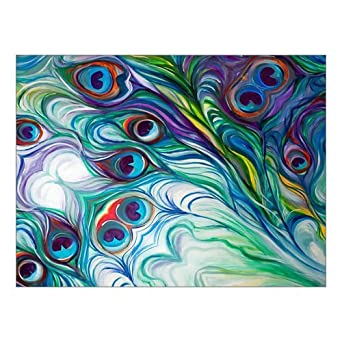 Custom Peacock Feather Canvas Print 16u0026quot; X 12u0026quot; Inch, Stretched And  Framed Artwork
