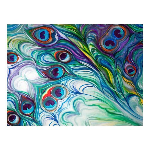 Amazon Custom Beautiful Modern Art Abstract Painting Peacock Feather Canvas Print 16 X 12 Inch Stretched And Framed Artwork Decor Wall Living Room
