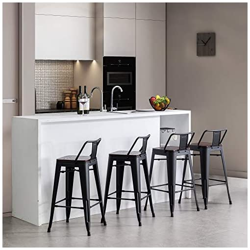 Farmhouse Barstools Alunaune 30″ Metal Bar Stools Set of 4 Counter Height Barstools Industrial Counter Stool with Wood Top (Low Back,Matte Black) farmhouse barstools