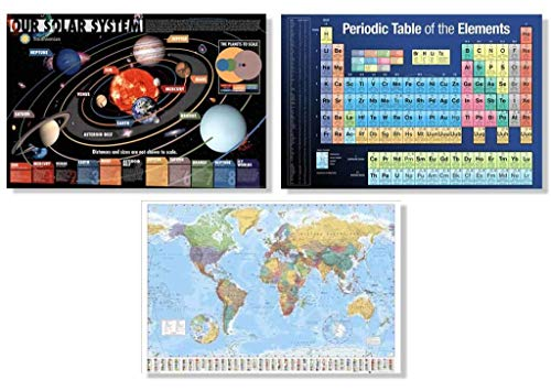 Set of 3 Science Reference Essentials World Map Periodic Table Solar System Educational Classroom Posters Set Bundle 24x36 inch