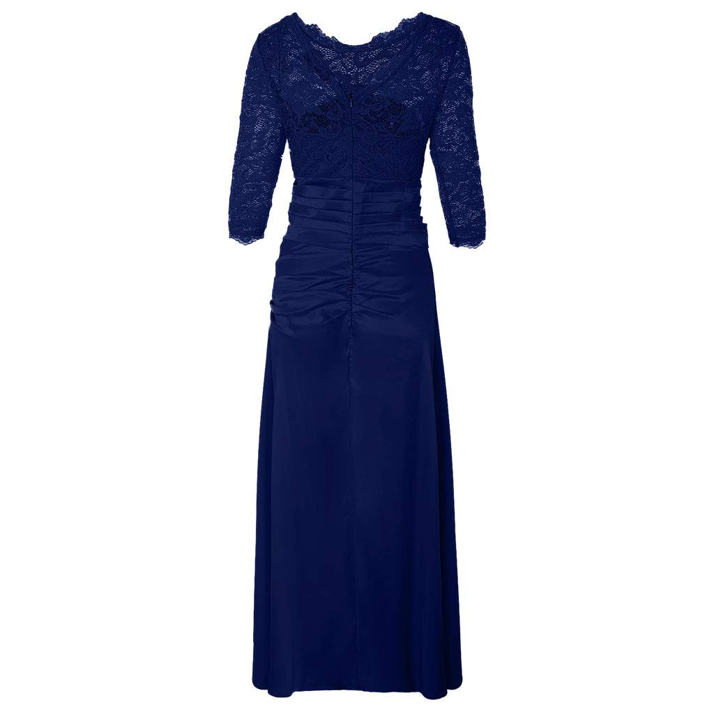 Kangma Women Retro Floral Formal Lace Vintage 2//3 Sleeve Slim Wedding Maxi Dress