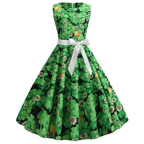 Cocktail Hallmark St. Patrick's Day Women Vintage 1950s Retro Shamrock Sleeveless Prom Swing Dress -