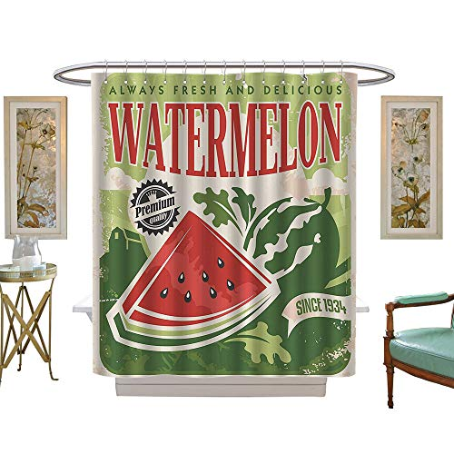 VROSELVHome Vintage Stall Shower Curtain Vintage Old Fashioned Funny Watermelon with Faded Colors Classic Graphic Art Waterproof, mildewproof, non-fading-W60 x L72 Green Red ()