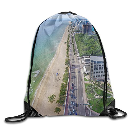 Men's Women's Fort Lauderdale Florida Large Removable Waterproof Foldable Swimming Teamsport Formation Handbag Gymbag Gym Drawstring Bags Sackpack - Lauderdale In Shopping Fort