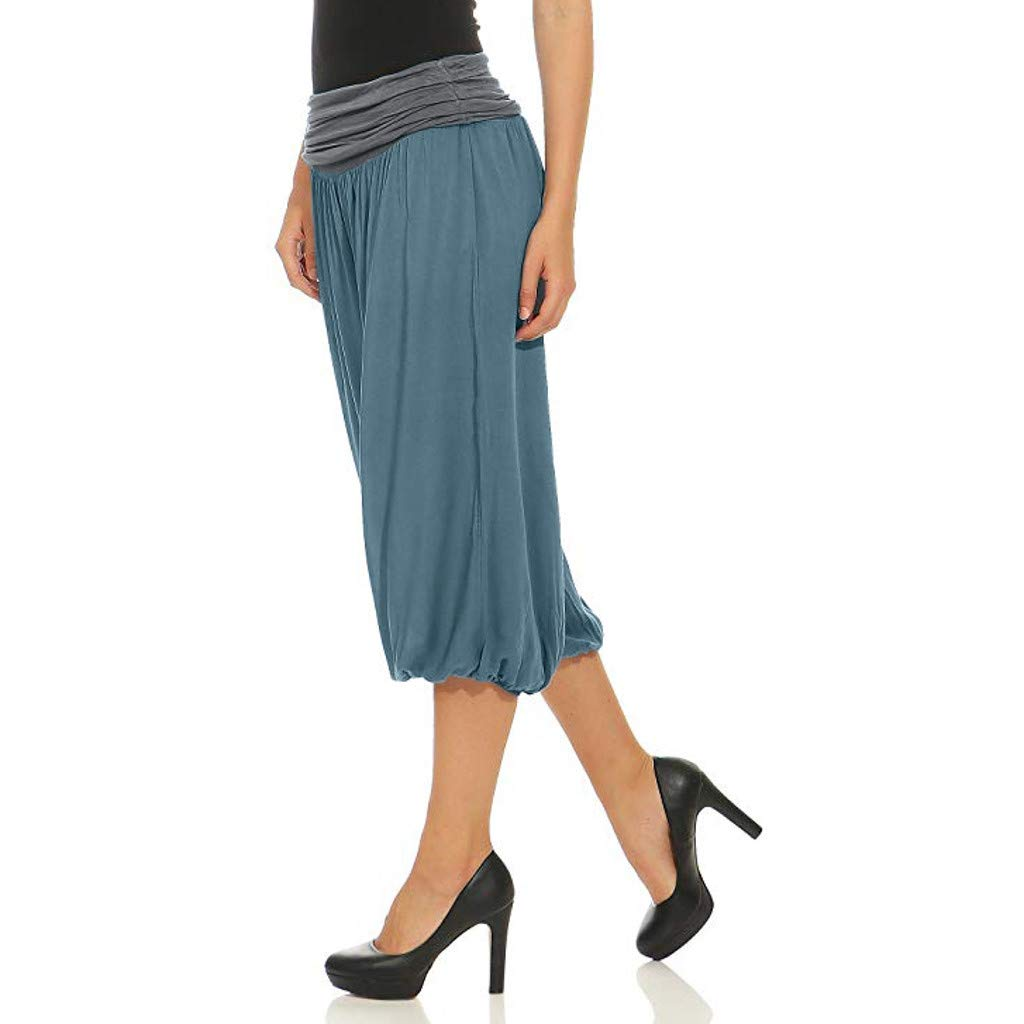 BUKINIE Pantalons D/ét/é pour Femmes,Pantalon Fluide Femme Grande Taille Elastique Boh/ême Pantalon Bermuda Casual Yoga Capris Pants Basics Ample Pas Cher