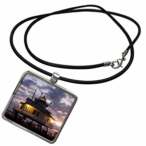 3dRose Danita Delimont - Lighthouses - Chesapeake Bay, Hooper Straight Lighthouse - US21 WBI0063 - Walter Bibikow - Necklace With Rectangle Pendant (ncl_90805_1)