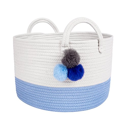 Short Blue Nursery Laundry Basket 16x10 - Woven Decorative Basket Large Natural Cotton Rope Basket w Handles – Baby Storage Laundry Hamper, Clothes, Diapers, Toys, Towels, Blankets & Kids Nursery