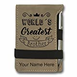 Mini Notepad, World's Greatest Brother, Personalized Engraving Included (Light Brown)