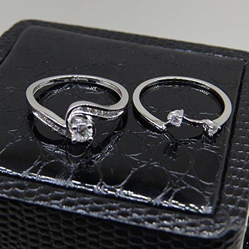 0.50 Carat (ctw) 10K White Gold Round Diamond Swirl Bridal Engagement Ring Matching Band Set 1/2 CT