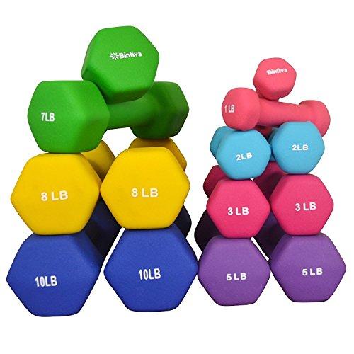 Matts Global Set of 2 Bintiva Non-slip Neoprene/Cast Iron Hexagon Dumbbells (Blue - 10 lbs) (Hexagon Dumbbells Best Prices)