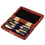 Yibuy Elegant Amber Color Reed Case Storage for 4pcs Oboe Reeds Protectors Close Tightly Solid Wood