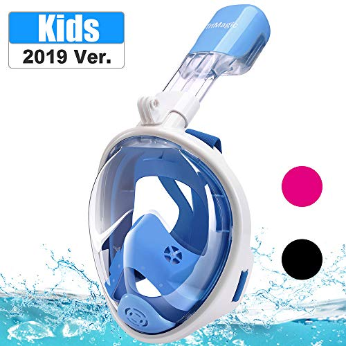 TriMagic Snorkel Mask, 180° Panoramic Full Face Design with Larger Viewing Area - Easier Breathing,with Anti-Fog and Anti-Leak, Kids