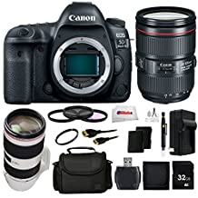 Canon EOS 5D Mark IV DSLR Camera Bundle Includes Canon EF 24-105mm f/4L IS II USM Lens + Canon EF 70-200mm f/2.8L IS II USM Lens + UV Filters + 32GB SD Memory Card + 2 Extra Battery + Charger & More!