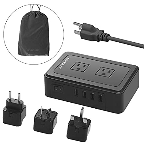 Travel Power Strip, JZBRAIN 2 Outlets & 4 USB Ports Charging Station with US Plug Surge Protector Extension Cord Including UK EU AU Power Adapter Plug and Portable Cloth bag (Lead Protector)