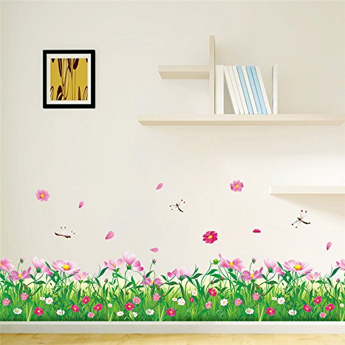 money-coming-shop-spring-pink-flower-green-grass-dragonfly-butterfly-clover-skirting-line-flora-diy-