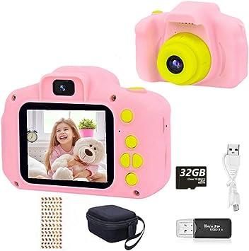 Amazon.es: HaiGeng Cámara para Niños 12MP Selfie Cámara Digital 1080P HD Video Cámara Infantil 32GB TF Tarjeta, Estuche de Transporte, Batería Recargable 1200 mAh, 2 Pulgadas, Regalos Juguete - Rosa