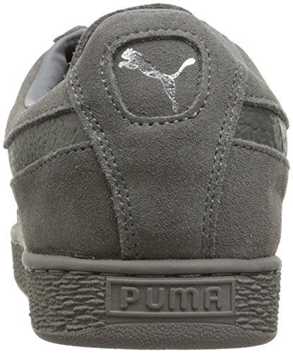 Puma Hombres Suede Classic Mono Reptile Zapatillas Moda Acero Gris-puma Plata