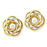 14K Yellow Gold Polished Love Knot Earring Jackets - (0.67 in x 0.59 in)