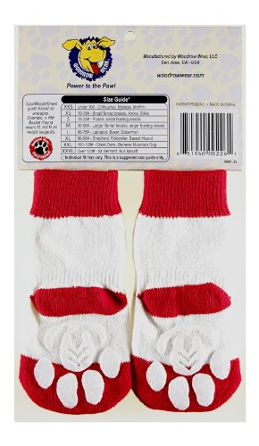 Power Paws, traction socks for dogs, Red with White Stripe, M by Woodrow Wear