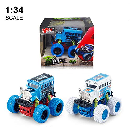 M.YING Monster Push Go Speed Car 1:34 Oversized Wheels Die-cast Inertia Antique School Bus Children's Toy Truck 2 Packs ()