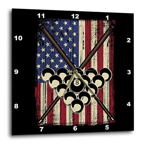 3dRose Sven Herkenrath Billiard - Pool Billiard Snooker Cue with US America Flag - 15x15 Wall Clock (DPP_307793_3) ()