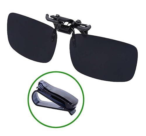 ebacadfe38 WODISON Outdoor Driving Rectangle Polarized Clip on Flip up Sunglasses for  Eyeglasses Black