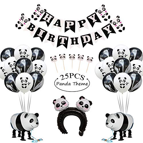 - GIHOO Panda Party Supplies, Panda Happy Birthday Banner, Panda Mylar Walking Balloons,Panda Printed Latex Balloon and Cake Topper, Agate Balloon for Kids Birthday Party Decoration
