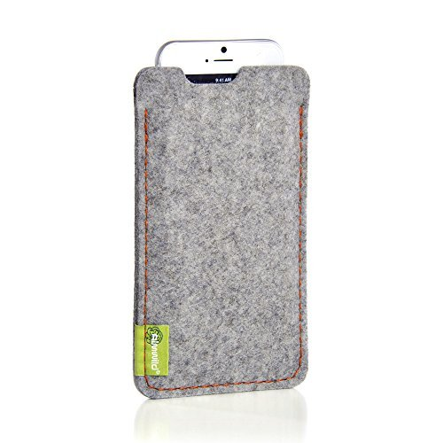 ALMWILD® Hülle,Tasche für Apple iPhone 8 Plus, 7 Plus, 6S 6 Plus MIT Apple Leder Case / Silikon Case. Aus Filz, in Alpstein- Grau. Handyhülle in Bayern handgefertigt.