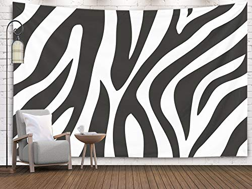 Jacrane Art Psychedelic Tapestries Black and White,Zebra Animal Print Pattern Background Concept Tapestries with 80X60 Inches for Dorm Bedroom Home Decor ()