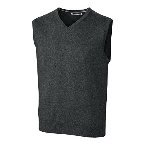 Cutter & Buck Men's Machine Washable Lakemont V-Neck Sweater Vest, Charcoal Heather, Large