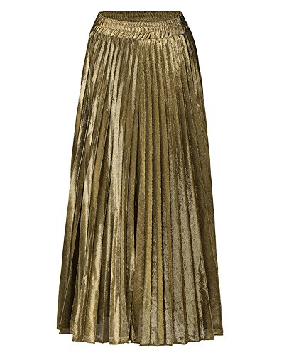 Plisse Jupe Jupe Haute Style Longue Femme Taille Or Maxi Casual PwqFPC8
