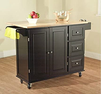 Amazon Com Tms Kitchen Cart And Island This Portable Small Island Table With Wheels Has A Solid Wood Counter Top 3 Drawers And 3 Cabinets For Additional Storage Space Black