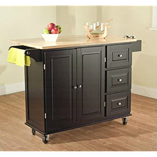 TMS Kitchen Cart And Island   This Portable Small Island Table With Wheels  Has A Solid Wood Counter Top   3 Drawers And 3 Cabinets For Additional  Storage ...