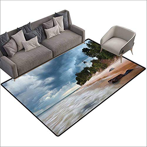 Bathroom Floor mats Lighthouse Decor Collection,Au Sable Lighthouse in Pictured Rock National Lakeshore Michigan USA Picture,Cloudy Blue Ivoy 48