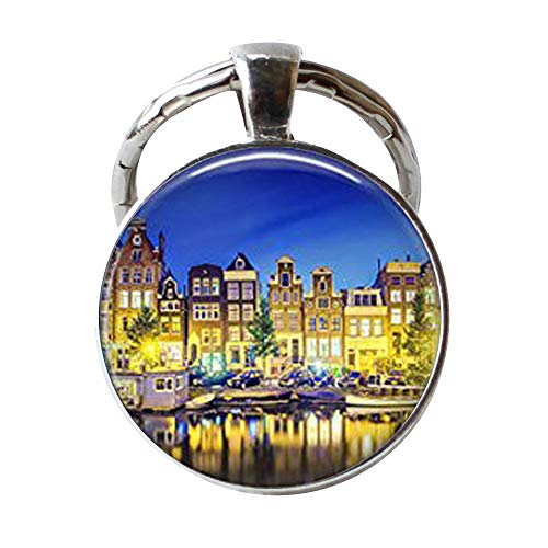 Amsterdam Keychain Amsterdam Keychain Famous Cities of The World Keychain Amsterdam Jewelry Famous Cities Keychain Netherlands -